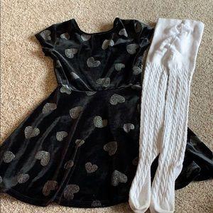 BLACK VELVET DRESS + SWEATER TIGHTS XS 4 4T